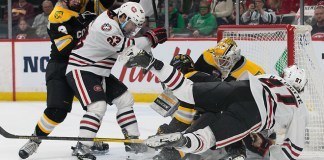 Blake Lizotte (SCSU-27) 2019 March 22 St. Cloud State University and Colorado College meet in the semi finals of the NCHC Frozen Face Off at the Xcel Energy Center in St. Paul, MN (Bradley K. Olson)