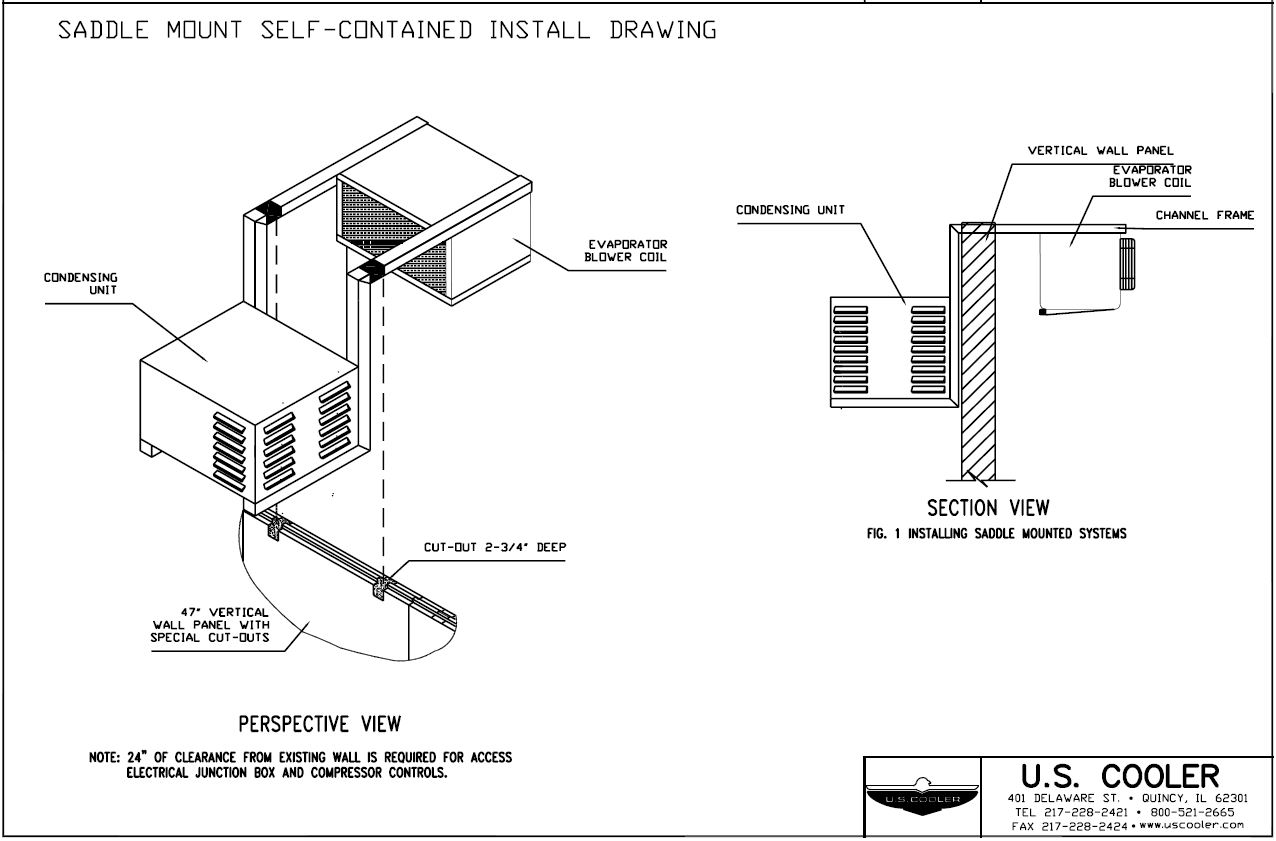 Saddle Mount Self Contained Install Drawing U S Cooler