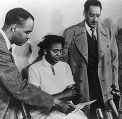 Autherine Lucy, in 1956 with future Supreme Court Justice Thurgood Marshall, right, and Roy Wilkins, then director of the NAACP