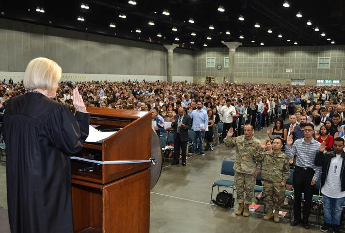 U.S. Judge Christina A. Snyder delivers oath to new citizens.