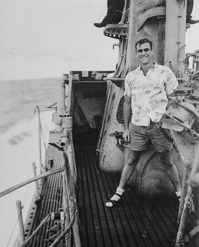 """Jack B. Weinstein on the deck of his submarine in World War II: """"I was proud to be part of ... a great war for freedom."""""""