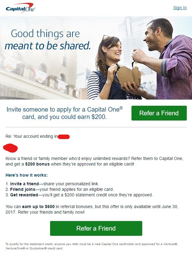 Capital One Referral Links Now Available (Targeted?) - US Credit ...