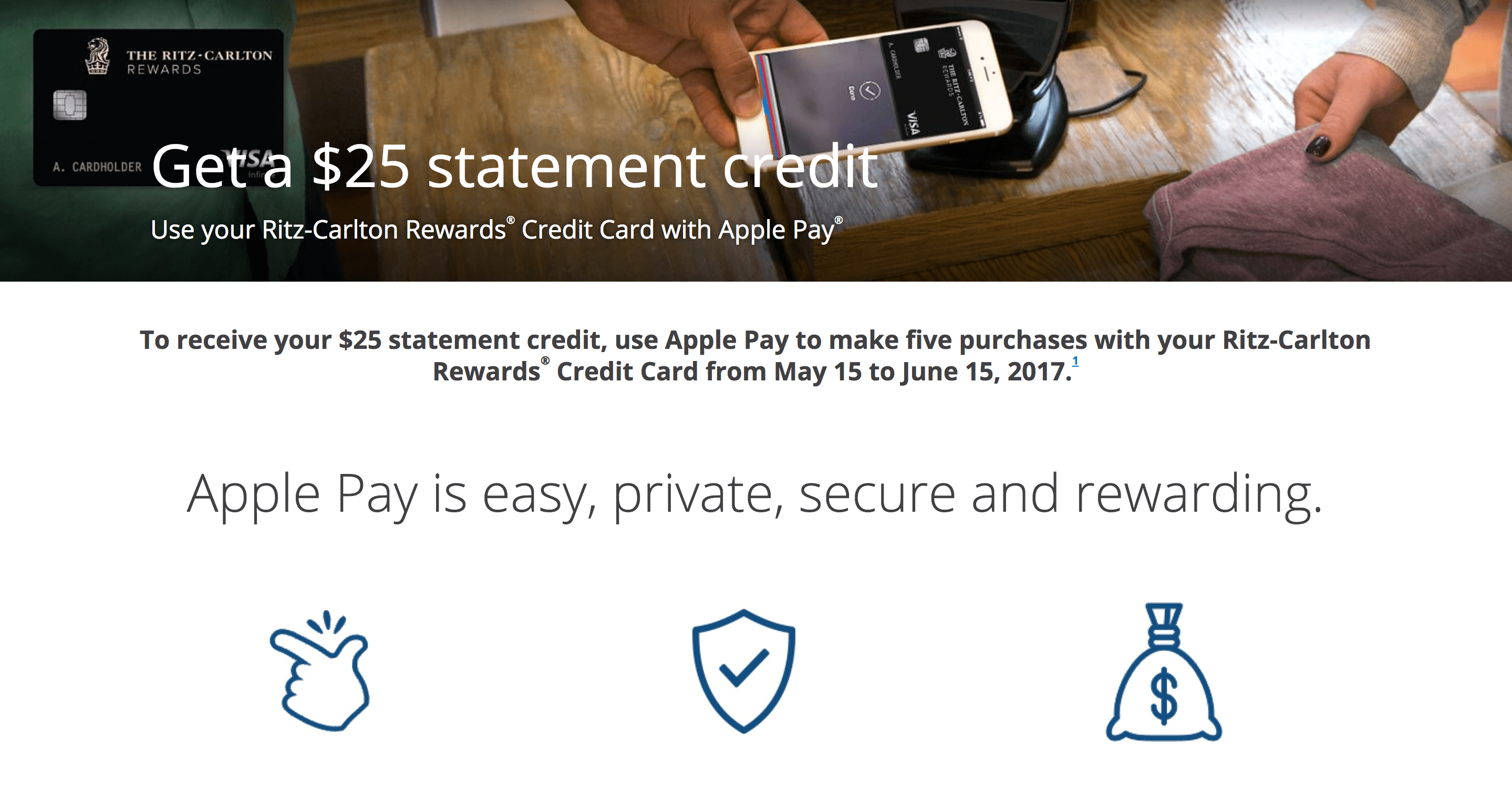 chase marriott ritz carlton $15 $25 by using apple pay us
