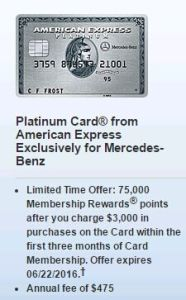 """History 75k card rewards"" AMEX Platinum (Mercedes-Benz), introduced"