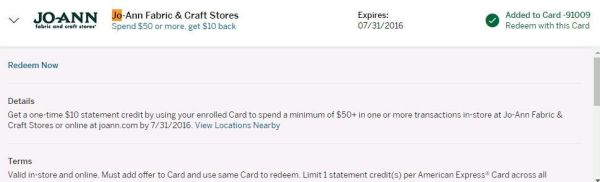 """6/3 update: Jo-Ann 50 minus 10 to buy gift cards"" the latest good AMEX Offer summary and use"