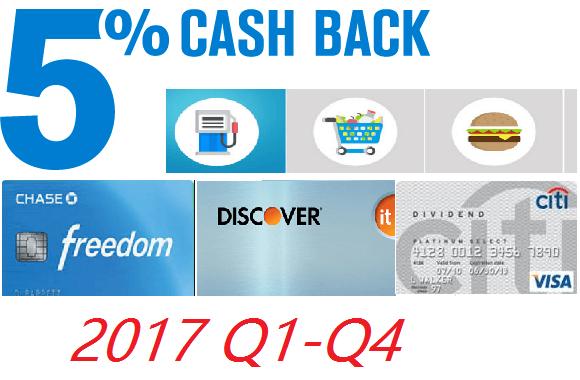 2017年信用卡季度5x返现总结【2/10更新:Discover Q2 5%可开始激活】