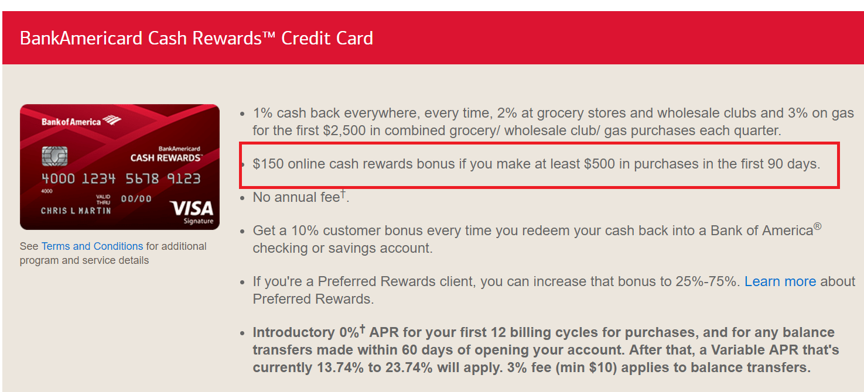 BOA Cash Rewards信用卡【开卡送0,321返现】
