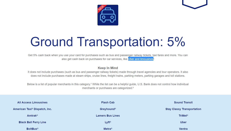 US Bank Cash+信用卡【3/10更新: Ground Transportation详细信息公布】