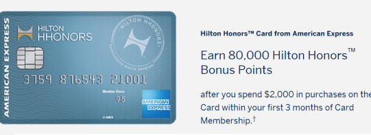 AMEX Hilton HHonors 信用卡【3/25更新:升级100k新链接】