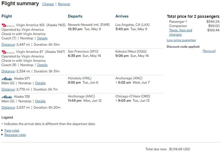 BOA Alaska Airline 信用卡【3/21更新:同行票可换Virgin America航班】