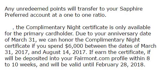 Chase Fairmont 信用卡【10/16更新:FreeNight已发放+我是如何处理这张卡的】