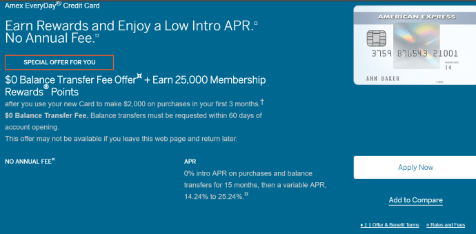 AMEX Everyday Card(ED)信用卡【2/16更新:25k+BT无费用+消费0APR】