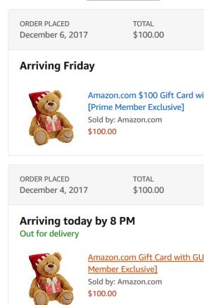 买Amazon Gift Card 送小熊活动【12/16更新:非prime也能购买了】