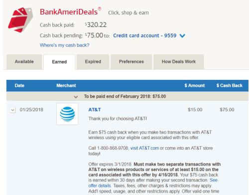 BOA Cashback Deals 使用指南【1/30更新:支付话费,已收到】