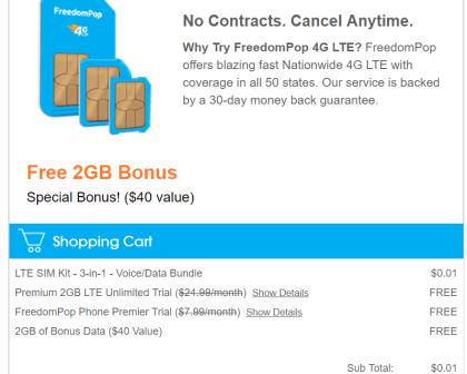 自由泡(Freedompop)使用指南——100%免费的手机服务【3/20更新:新卡只需1c,附送2G流量奖励】