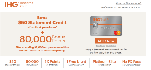 Chase IHG Rewards Club 信用卡【5/14更新:升级新卡得5k积分】