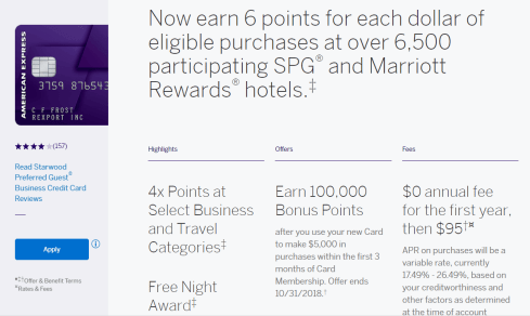 AMEX Starwood Preferred Guest 商业信用卡【100k 开卡奖励】