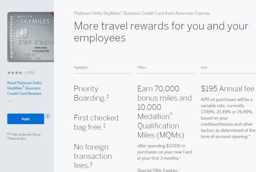 AMEX Platinum Delta SkyMile Business 商业信用卡简介【70k+10k MQM开卡奖励】