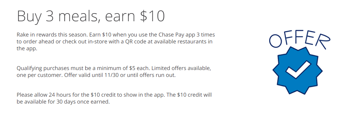 Chase Pay 活动汇总【12/31更新:shop rite 反 10x/10%,order ahead吃饭三个offer,76加油10c/gal offer】