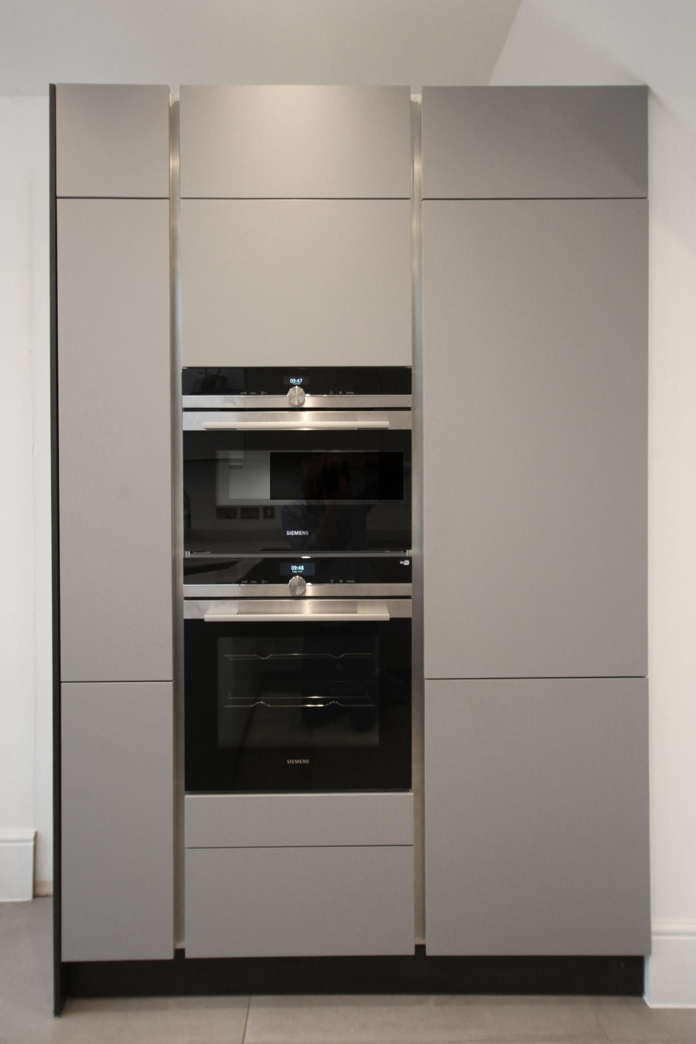 HACKER Pearl Grey German Handleless Used Kitchen With
