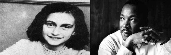 The common thing between Martin Luther King and Anne Frank