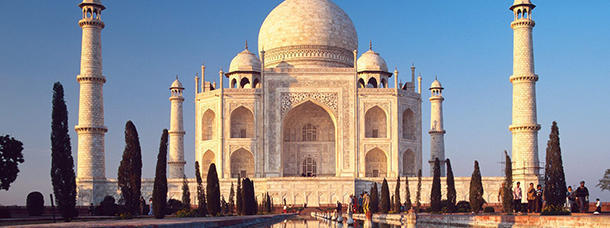 The Taj Mahal in India is made entirely out of marble