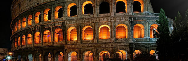 How many cubic metres of travertine is the Colosseum estimated to have?