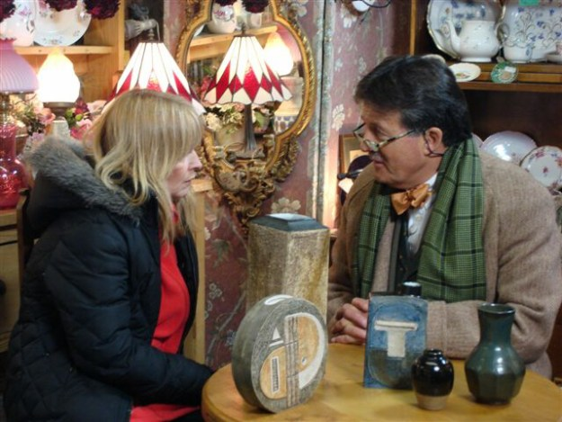 Antique Dealers at The Antiques Warehouse - Tim Wonnacott discussing Troika pottery w/ Toyah Willcox