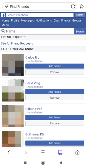 How to see sent friend requests in the Facebook app