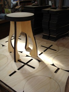 Laser cut plywood stool