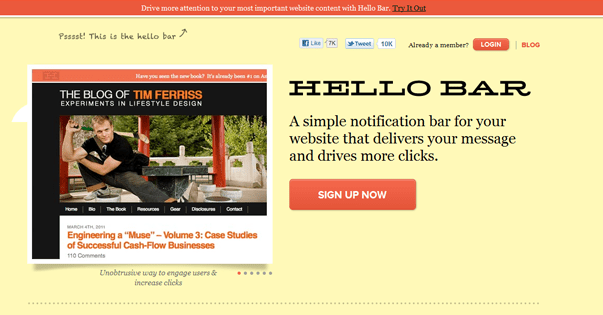 Hello bar wordpress notification bar plugin