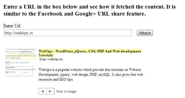 Facebook Like URL Meta Data Fetch in PHP