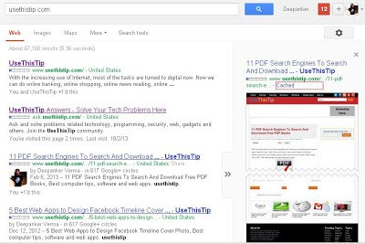 Cache page from Google search results