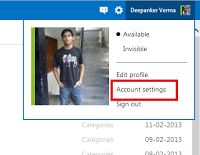 Open Account settings in Outlook.com