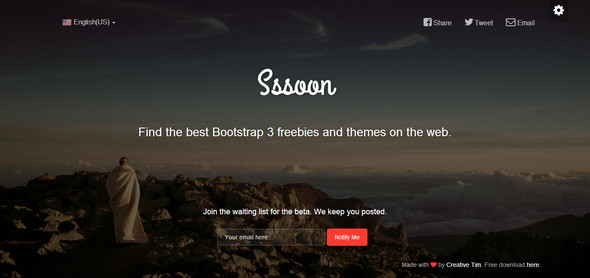 Sssoon Bootstrap Coming Soon Page