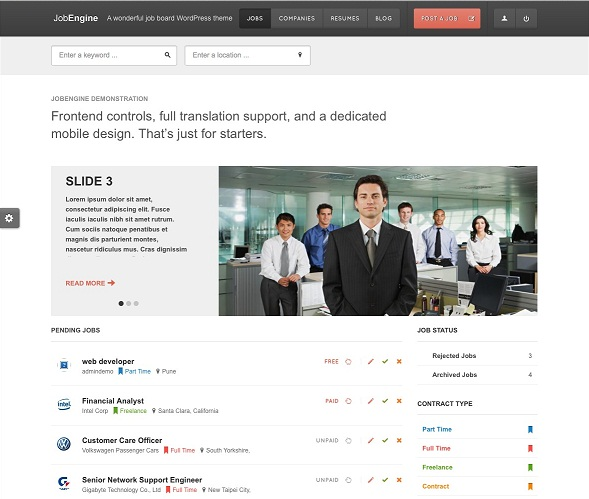 JobEngine WordPress theme for job board