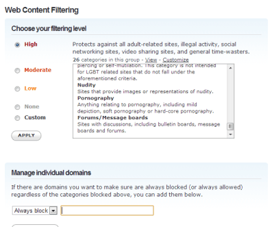 OpenDNS web content filtering