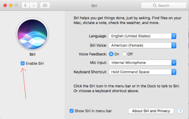 Disable Siri from Mac