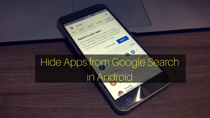 Hide Apps from Google Search in Android
