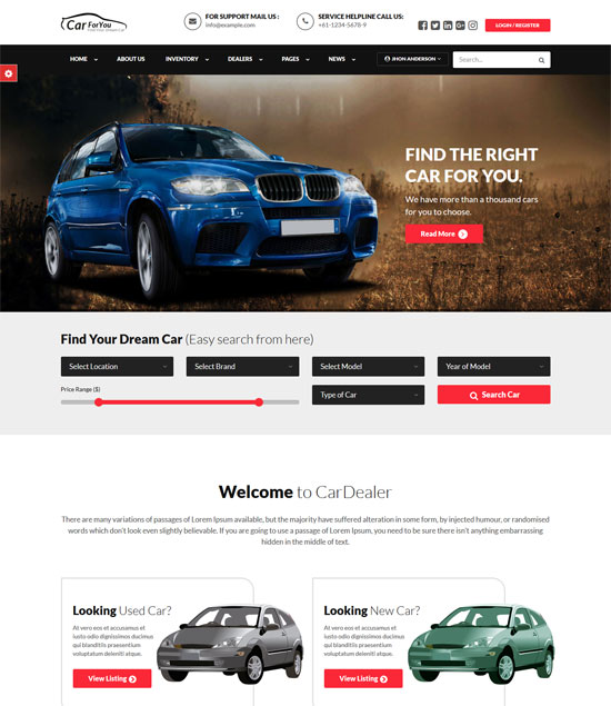 carforyou Car dealer HTML5 Template