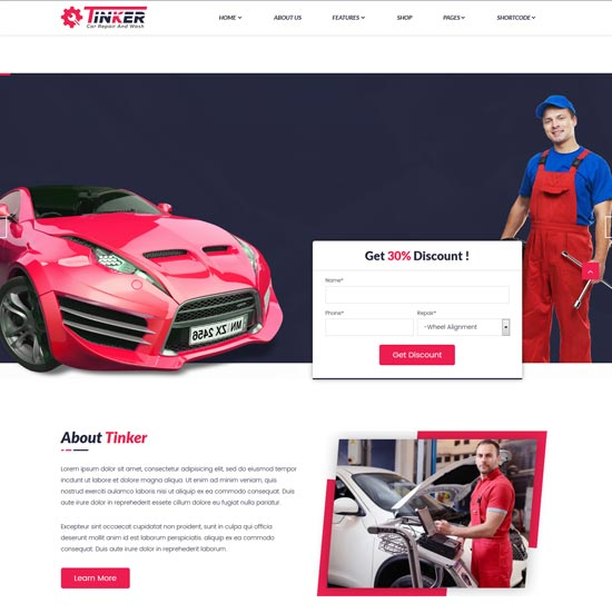 Car rental HTML5 template