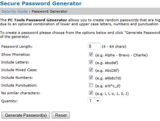 PCTools password generator