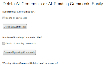 Delete All Comments Easily Plugin