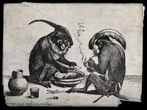 https://commons.wikimedia.org/wiki/File:Two_monkeys_in_feathered_caps_smoking_tobacco._Engraving_Wellcome_V0021451.jpg