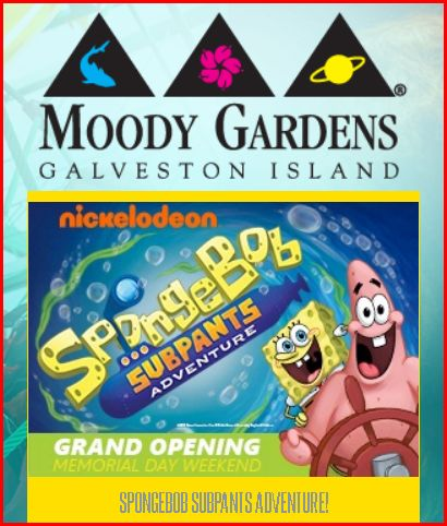 Moody Gardens Coupon Galveston Texas with SpongeBob