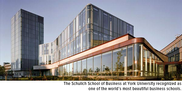 The schulich School of Business at York University, recognized as one of the world's most beautiful business schools.