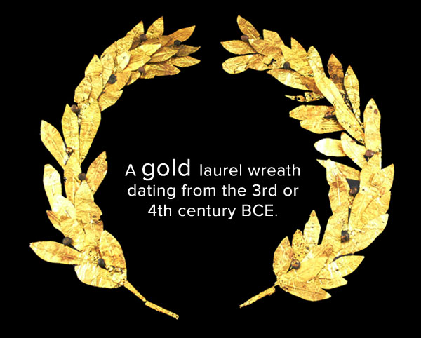 a gold laurel wreath dating from the 3rd or 4th century BCE