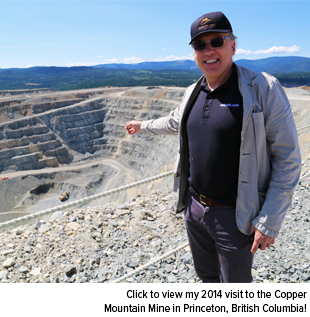 Frank Holmes in the copper Mountain Mine in Princeton, British Columbia