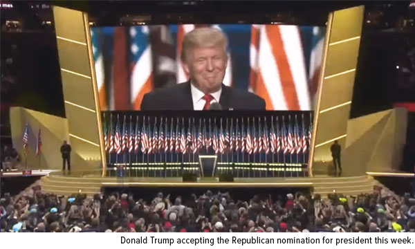 Donald Trump accepting the Republican nomination for president this week