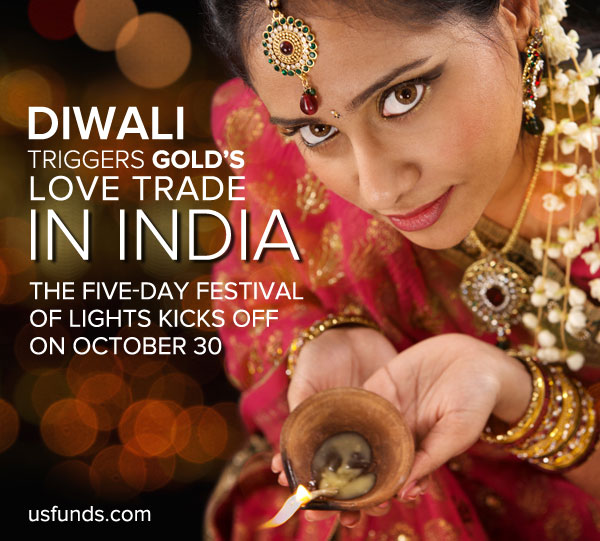 Diwali trigers gold's love trade in India. The five-day festival of lights kicks off on October 30